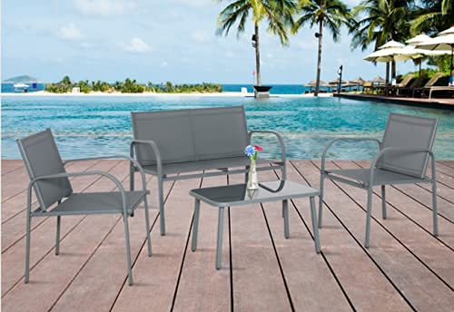 Panana Garden Furniture Set 4 Seater Glass Coffee Table Textoline Chairs Metal Frame Outdoor Patio Backyard Conservatory Poolside Grey