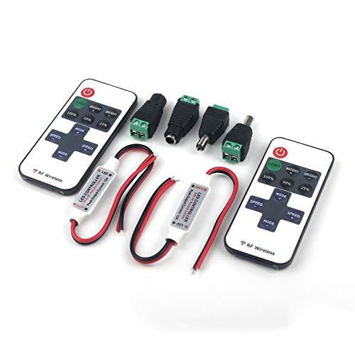Taikuwu 2Stücke LED Streifen Controller LED Strip Dimmer Kontroller DC 5V-24V 12A Empfänger RF Wireless Remote LED Stripe Fernbedienung Regler für 2 polig SMD 5050 3528 2835 5630 LED Band