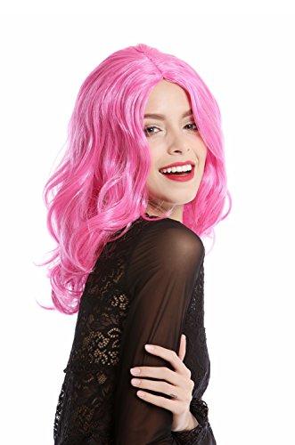 WIG ME UP - 90831-ZAC5B Perücke Damen Halloween Karneval pink rosa schulterlang wellig Mittelscheitel