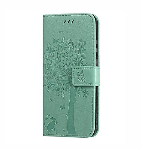 HAOTIAN Hülle für LG Velvet 4G/5G, Retro Geprägt Muster Design Leder Brieftasche Flip Handyhülle, Kartenfach & Magnet Kartenfach Schutzhülle für LG Velvet 4G/5G, Grün