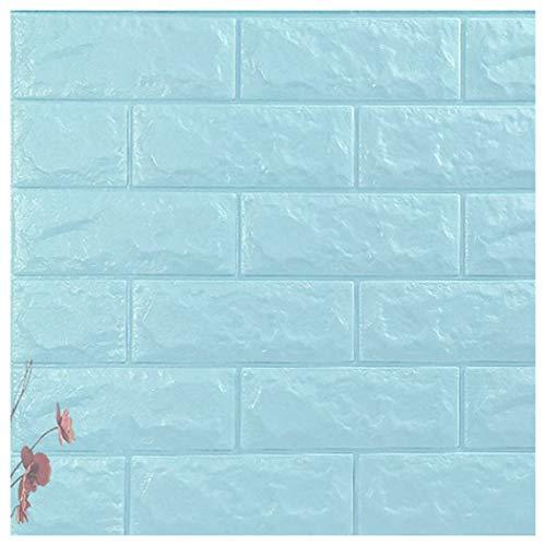 Ann 3D Ziegel Tapete, DIY Aufkleber Wasserdicht LCE Blau 3D Tapete Selbstklebend Steinoptik Wandpaneele Ziegelstein Wandaufkleber für Schlafzimmer Wohnzimmer Moderne Hintergrund TV-Decor