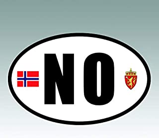 RDW Norway Oval Sticker - Die Cut - Decal - NO v6 Country Code Euro - Size: 4.99