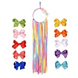 Hanging Hair Bow Organizer and 10 Colorful Bows INCLUDED! HairBow and Headband Hanger and Storage - Cheer Bows for Girls - Accessory Organizer - Monos para ninas