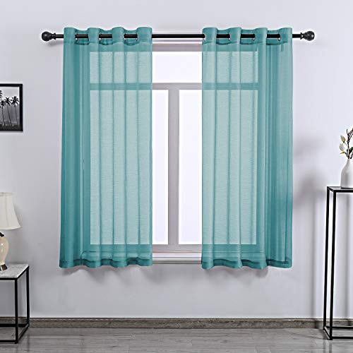 Teal Curtains Sheer 63 Inch Length for Bedroom - Grommet Voile Drapes Window Sheer Curtain Panel for Bedroom Girls Room,52 X 63 Inches Long