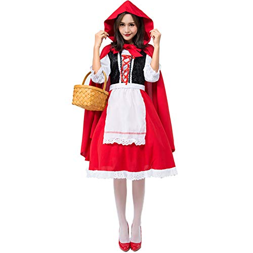 Dames Halloween Roodkapje kostuum met cape volwassen jurken hard rollenspel sexy cosplay jurk carnaval vermomming feest nachtclub,S