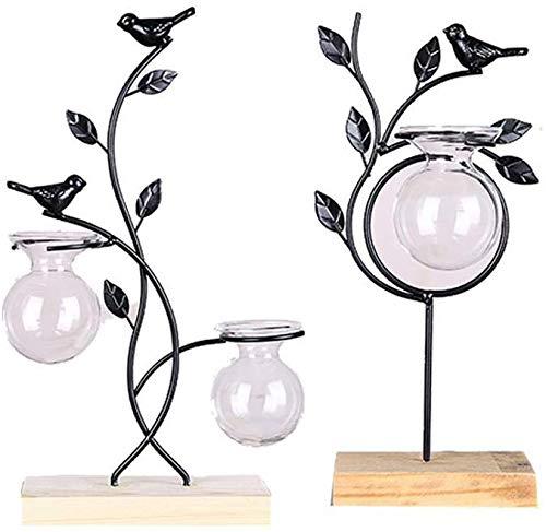 ZXL creatief handwerk, thuisdecoratie, decoratie, creatieve bloem van smeedijzer, reageerbuis, glazen vaas, wateraanbouw in huis, groen, plant, binnen (kleur: B)
