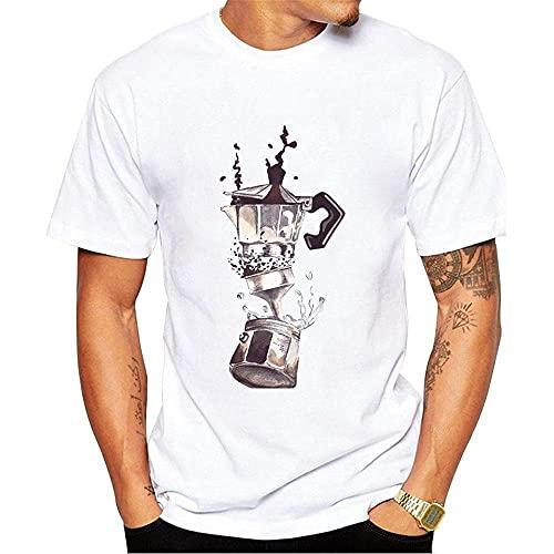 Koszulki Męskie Męska Koszulka Z Nadrukiem W Stylu Vintage Letnia Koszulka Mężczyzna Białe Topy Ekspres Do Kawy Fajny Chłopak Koszulki Na Co Dzień Na Zewnątrz A Xxl