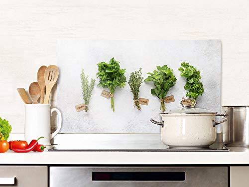 GRAZDesign Spritzschutz Küche Glas Kräuter Grün Grau, Küchenrückwand, Glasplatte / 80x60cm