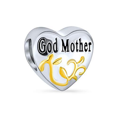 Forma Di Cuore Dio Amore Di Madre Di Famiglia Cordone Di Fascino Per Donne 2 Tono 14K Placcato Oro Argento Sterling