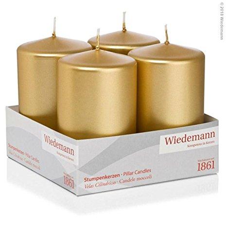 Wiedemann Kleintray-Kerzen lackiert, Wachs, Gold, 10 x 6 cm