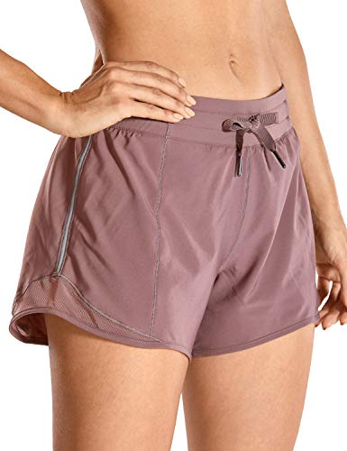 CRZ YOGA Quick-Dry Loose Running Shorts Women Sports Workout Shorts Gym Athletic Shorts with Pocket -4 Inches Mauve 4'' - R404 Small