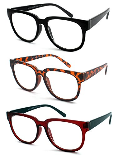 EYE ZOOM 3 Pairs Ladies Popular Style Plastic Frame Reading Glasses for Women, Multi-color, +2.00