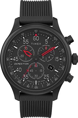 Timex Expedition 43mm Reloj cronógrafo Hombre con Correa de Silicona Negra TW4B20700