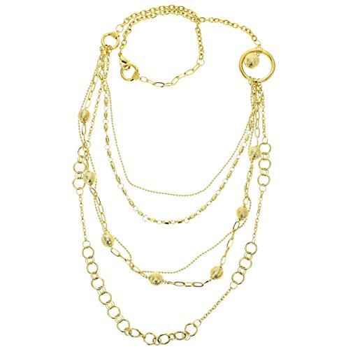 Lange fijne ketting met gouden parels – dubbele ketting goudkleurig vrouw