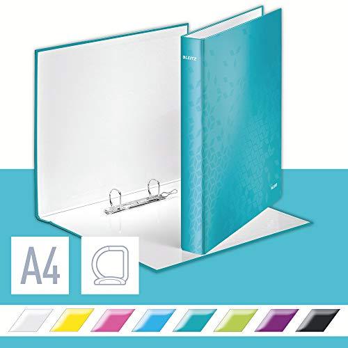 Leitz 42400051 Ringbuch Active WOW, A4, Polyfoam, 4 Ringe, 30 mm, eisblau