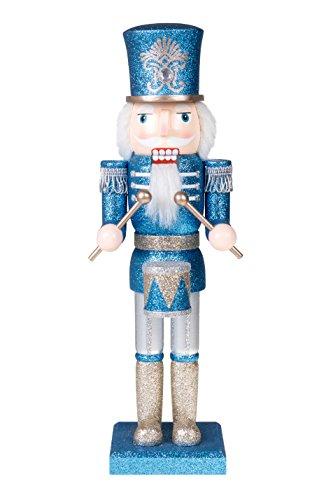 Clever Creations - Traditioneller Nussknacker-Soldat mit Trommel - die perfekte Ergänzung für Jede Sammlung - Festliche Weihnachtsdeko - 100 {a2b3a1da145d0cbf46ce776fc4de736556c1d8c3e3ffeb236f44d171edffceaf} Holz - Blauer und silberfarbener Glitzer - 35,6 cm