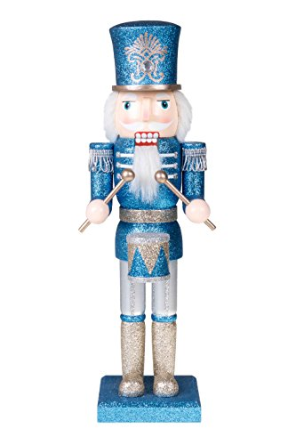 Clever Creations - Traditioneller Nussknacker-Soldat mit Trommel - die perfekte Ergänzung für Jede Sammlung - Festliche Weihnachtsdeko - 100% Holz - Blauer und silberfarbener Glitzer - 35,6 cm