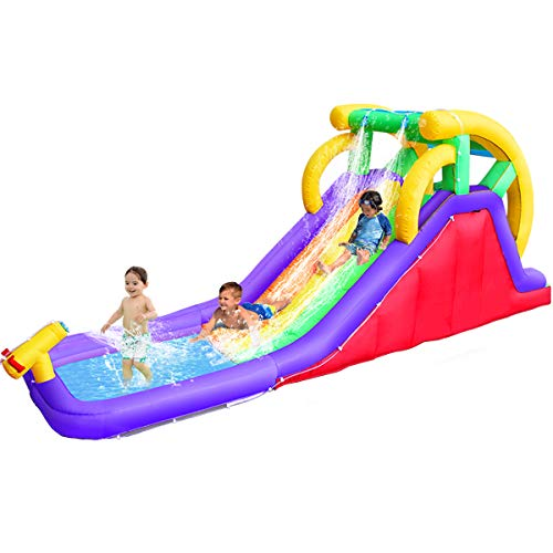 RETRO JUMP Inflatable Water Slide, Double Slide Pool Water...