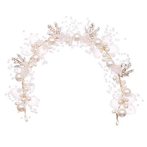Diadema de perlas de flores doradas Tiara corona boda nupcial princesa diademas...