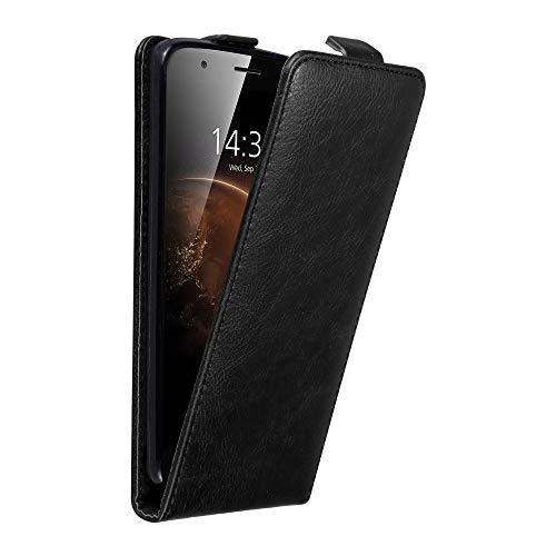 Cadorabo Hülle für Huawei G7 Plus / G8 / GX8 in Nacht SCHWARZ - Handyhülle im Flip Design mit unsichtbarem Magnetverschluss - Hülle Cover Schutzhülle Etui Tasche Book Klapp Style