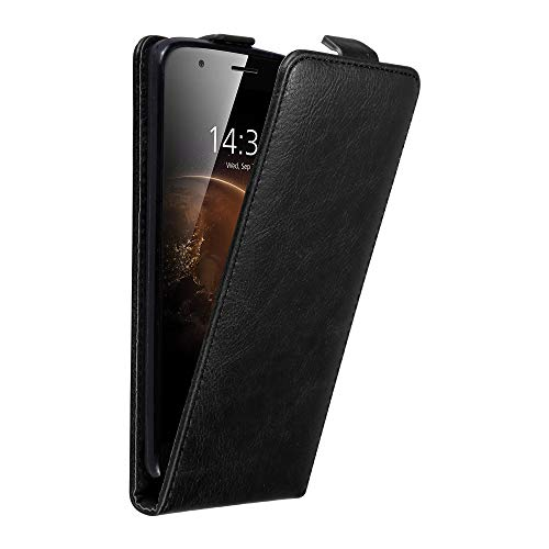 Cadorabo Hülle für Huawei G7 Plus / G8 / GX8 in Nacht SCHWARZ - Handyhülle im Flip Design mit Magnetverschluss - Hülle Cover Schutzhülle Etui Tasche Book Klapp Style