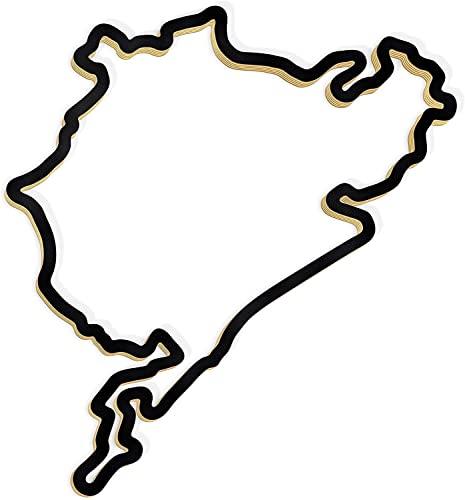 RaceTrackArt Holzskulptur-Deko – Rennstrecke Nürburgring, Wandverzierung, 46 cm, Holzskulptur, Geschenk, Wanddekoration für Fans von Autorennen, schwarz