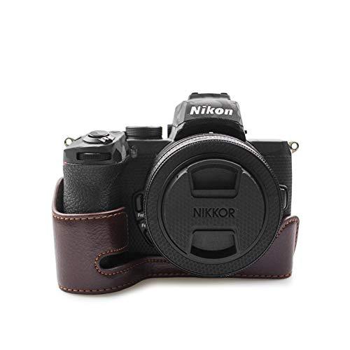 kinokoo Echt Lederen Hoesje voor Nikon Z50, Camera Z50 Handgreep Hoesje Onderaan Hoesje Half Hoesje voor Nikon Z50, Koffie