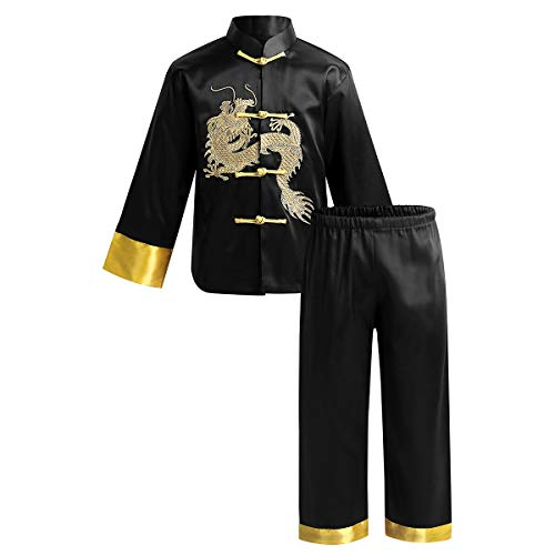 ACSUSS Kids Boys Satin Embroidery Dragon Traditional Chinese Kung Fu Outfit Tang Suit Chinese Costume Black 8-10 Years