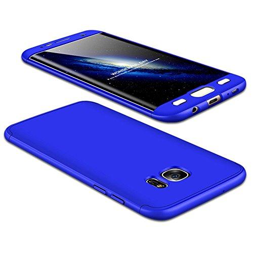 JMGoodstore Cover Galaxy S7 Edge,Custodia Galaxy S7 Edge, 360 Gradi Premio Ibrido Rugged 3 in 1 Duro AntiGraffio Macchia PC Custodia+Pellicola Vetro Temperato Protettiva Blu