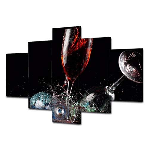 Lllyzz Canvas Schilderijen 5 Stuk Gebroken Wijnglas Canvas Kunst Schilderen Modulaire Cudaros Foto Poster Muur Kunst voor Home Decor Framework Prints Op Canvas 150X80CM