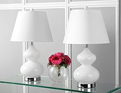 Safavieh Eva Double Gourd Glass Lamp, Set of 2, Silver Base and Neck with White Shade