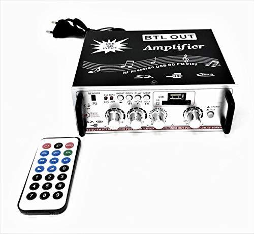 Amplificatore Stereo Hi Fi Auto X Casa Con Ingresso Usb SD Card Mp3 Radio FM Aux