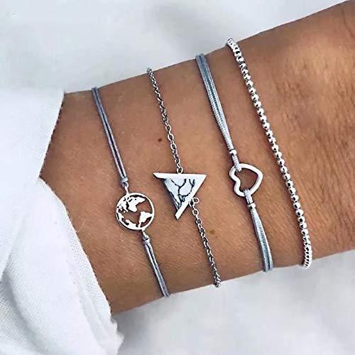 ZYJ Set van 4 holle strass armbanden voor vrouwen Europese tophus map charm eenvoudige pols armband parels ketting juweel