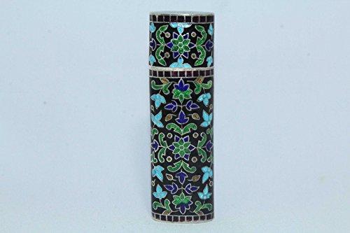 Rajasthan Gems handgefertigt Emaille Cloisonne 925Sterling gekennzeichnet Silber Zigarette Vesta Fall