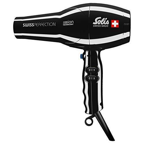 Solis Profi-Haarföhn, 3 Temperatur- und Gebläsestufen, Kaltluft-Taste, AC-Motor, 2300 Watt, Ionen-Technologie, Swiss Perfection (Typ 440), Schwarz