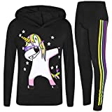 A2Z 4 Kids Enfants Filles Survêtement Noir Designer - Unicorn Hooded Set 225 Black_11-12