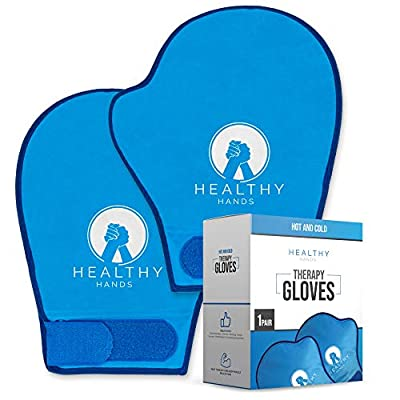 Healthy Hands 2 Wrist & Hand Hot and Cold Soft Ice Pack Wraps For Hand Injuries, Arthritis, Chemo, Carpal Tunnel – Hot/Cold 20+ Mins – Heat and Cold Hand Therapy – Reusable Pliable Gel Ice Pack Gloves