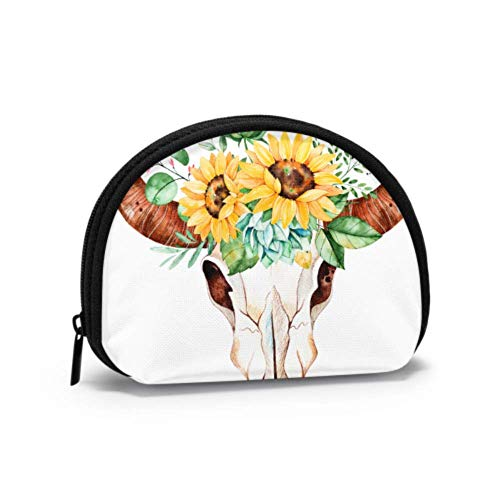Funny Coin Purse Bull Head Skull with Flowers Wallet Coin Purse Coin Purse for Women with Zipper Mini Cosmetic Makeup Bags for Women Girls Party Gifts and Decorations