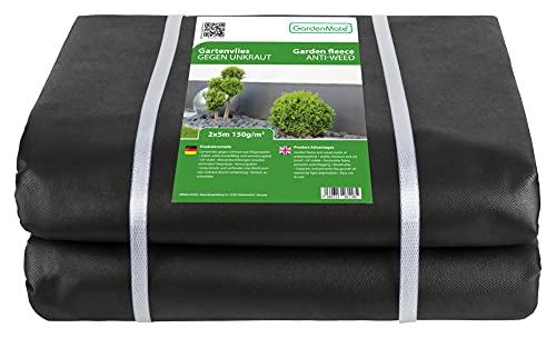 GardenMate 2mx5m Bahn/Plane 150g/m² Premium Gartenvlies - Unkrautvlies Extrem Reißfestes Unkrautschutzvlies - Hohe UV-Stabilisierung - Wasserdurchlässig - 2mx5m=10m²