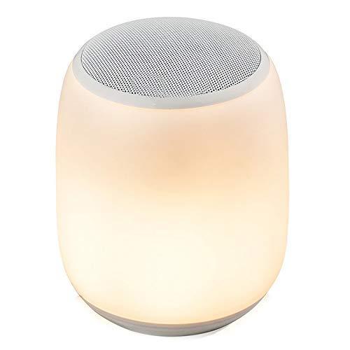 Allamp Norte de Europa Contacto lámpara de mesa portátil de altavoces, subwoofer Noche minimalista estilo de luz LED que cambian de cabecera luz de luz de camping 4000Mah