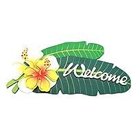 Pukana ハワイアン ハイビスカス 吊り下げ ドア プレート WELCOME 2連タイプ ホワイト B  PUNP-1204-B