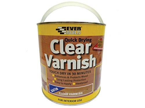Everbuild EVBWVARCLS2 Quick Dry Wood Varnish Satin Clear 2.5 Litre