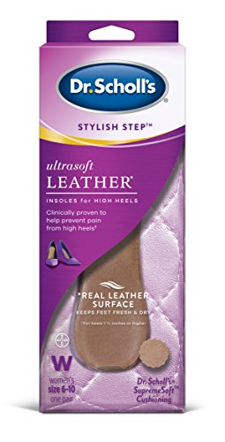 Dr. Scholl's Ultrasoft Leather Insoles for High Heels (Women's 6-10) // Relief of High Heel Pain plus a Real Leather Surface