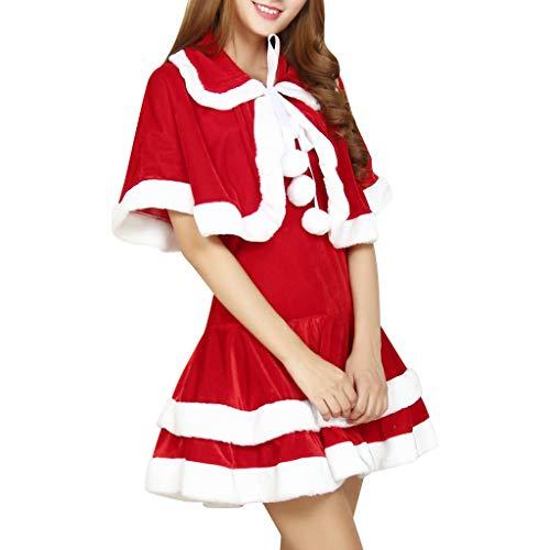 JJHAEVDY Kostüm Weihnachtskostüm, Damen Weihnachten Fasching Nikolaus Xmas Santa Weihnachtskleid + Weihnachtsmütze + Umhang Deluxe Abendkleid Satz für die Weihnachtsfeier