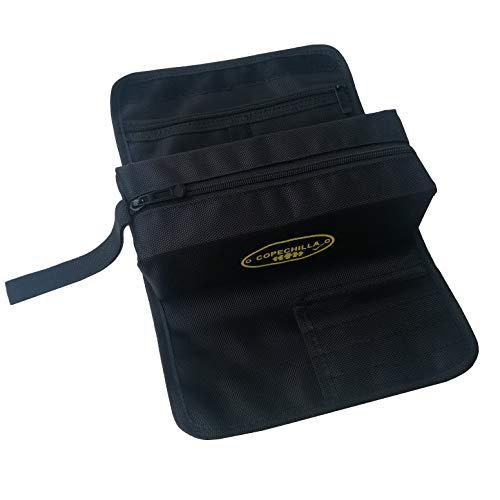 Copechilla Werkzeugrolltasche tragbar und Werkzeugtasche klein, Schwarz,1680D Material hohe Dichte wasserdicht verschleißfest,Mit Reißverschlussfach, Lanyard für kleine Werkzeuge und Schreibwaren
