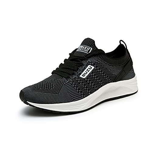BUZU Mens Athletic Shoes Lightweight Cushioned Running Sport Shoes Knitted Breathable Walking Shoes Daily Shoes (Black 10.5)