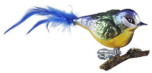 Thüringer Weihnacht 52-001 Glas-Vogel, Blaumeise mit Naturfedern, Mehrfarbig