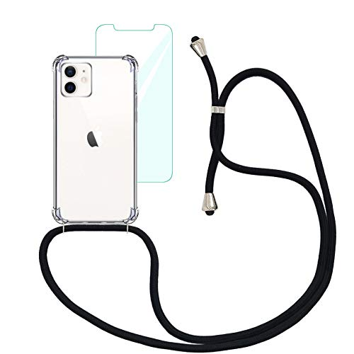 """Yohii Funda con Cuerda Compatible con iPhone 12 Mini (5.4"""") y Protector Pantalla de Cristal Templado, Carcasa Transparente TPU Suave Silicon Colgante Ajustable Collar - Negro"""