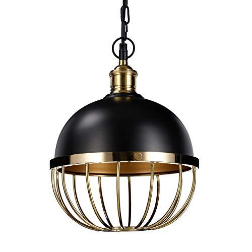 Relaxdays hanglamp Vintage, hanglamp voor eettafel, 1 lamp kogellamp van ijzer, Ø25cm, E27, 40W, zwart goud