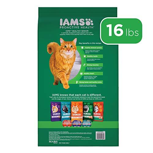 IAMS PROACTIVE HEALTH HEALTHY SENIOR Dry Mature Cat Food with Chicken Cat Kibble, 16 lb. Bag